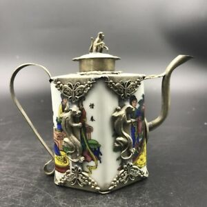 Chinese Antique Ceramic Teapot Outsourcing Tibetan Silver Painting Beauty C469