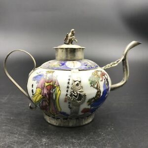 Chinese Antique Ceramic Teapot Outsourcing Tibetan Silver Carving Monkey C509