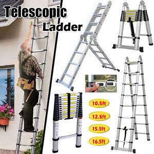 16 5ft Folding Step Aluminum Telescoping Collapsible Roof Climbing Ladder En131