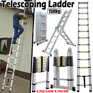 16 5ft Folding Step Aluminum Telescoping Collapsible Roof Climb Ladder 12 5ft