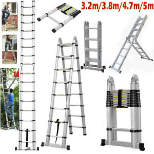 16 5ft Folding Aluminum Telescoping Collapsible Roof Climb Ladder 12 5ft 10 5ft