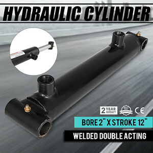 Hydraulic Cylinder 2 Bore 12 Stroke Double Acting Heavy Duty Forestry Suitable