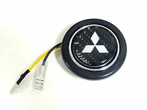 2 Carbon Fiber Diamond Steering Wheel Horn Button For Mitsubishi