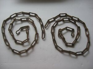 2 42 Antique Rusty Steel Chains Hook Old Country Farmhouse Steampunk Art