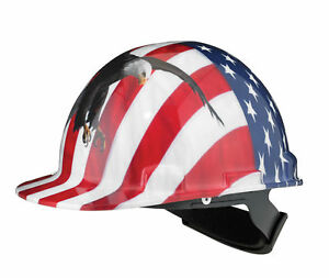 Dynamic Safety Hard Hat Helmet With Usa Flag And Eagle Casque De Construction