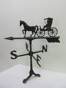 Vintage Horse Buggy Direction Arrow Cast Metal Country Farm House Weather Vane