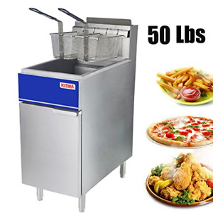 Kitma Commercial Deep Fryer 50 Lb Natural Gas 4 Tube Floor Fryer With 2 Fryer