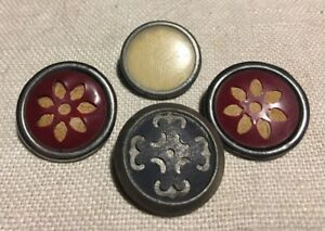 Lot Of 4 Antique Vintage Metal Buttons With Celluloid Insets