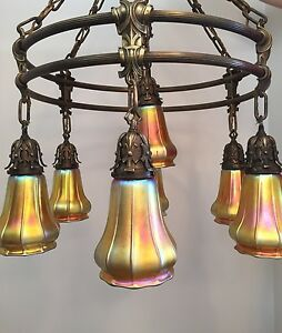 Spectacular Arts Crafts Ceiling Lamp Chandelier W 7 Steuben Aurene Shades