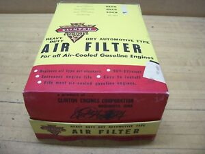 Vintage Old Nos Clinton Gas Engine 6 Air Filters Cleaner With Display Box