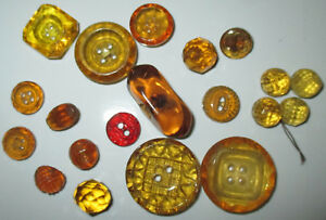 Nice Lot 20 Antique Yellow Amber Glass Buttons Pressed Faceted Flower