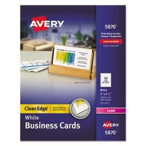 Avery Clean Edge Laser Business Cards White 10 sheet 2000 Per Box ave5870