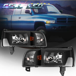 For 1994 2001 Dodge Ram 1500 2500 3500 Pickup Black Headlights Headlamp Assembly