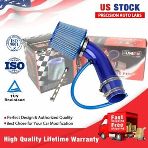 Aluminum Car Cold Air Intake Pipe 3 Filter W clamp accessories Blue Universal