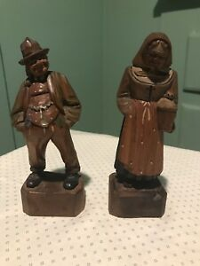 Antique Early 1900 S Folk Art Primitive Wooden Carved Figural Couple