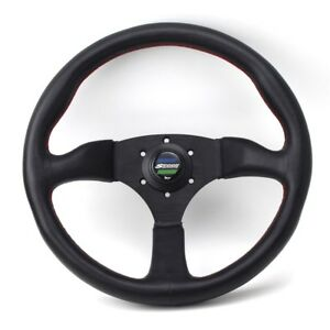 350mm 14inch Spoon Sport Style Deep Dish Leather Steering Wheel Honda Universal