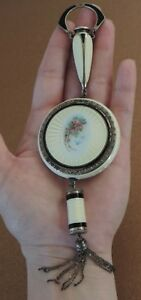 Rare Sterling Silver Guilloche Enamel Vanity Compact F B Foster Bailey