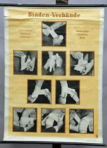 Vintage Picture Medical Wall Chart Poster First Aid Injury Bandages