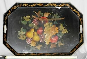 Antique Large Tole Tray Victorian Hand Painted Gold Flowers Fruit Polychrome