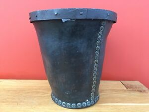 Early 19th Century Antique Leather And Iron Fire Bucket Circa 1820