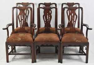 Statton Solid Cherry Chippendale Style Set Of 6 Dining Chairs Old Towne