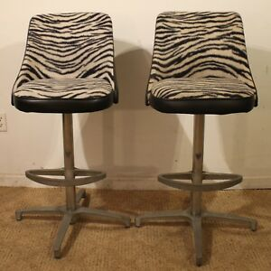 Pair Of Mid Century Danish Modern Chromcraft Zebra Print Swivel Bar Stools 3