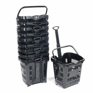 Rolling Shopping Basket In Black Plastic 18 75 W X 15 75 D X 18 5 H Set Of 10