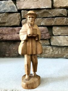 Vintage Folk Art Hand Carved Figurine Of Barefooted Old Man Selling His Wares