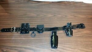 G g Leather Police Duty Belt Size 34 W buckle X26 Taser Cuff Mag Etc Kpa