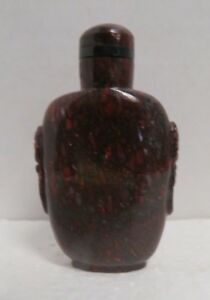 Vintage Chinese Hand Carved Petrified Dinosaur Bone Hollowed Out Snuff Bottle