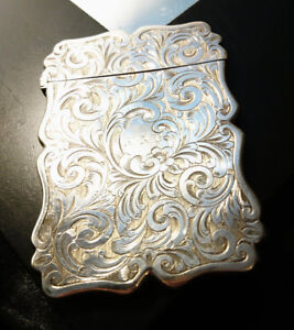 Victorian Silver Plated Card Case Card Holder Scrolling Foliage Antique Card