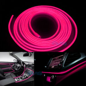 2m 12v El Wire Pink Cold Light Neon Lamp Car Atmosphere Lights Decor Universal