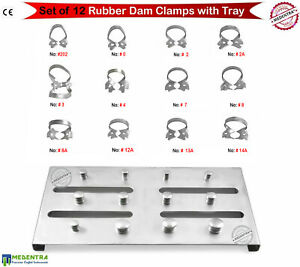 Endodontic Instruments Dental Restorative Rubber Dam Clamps stainless Steel Tray