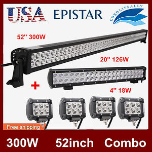 52inch 300w Combo Led Light Bar 20inch 126w 4x 4 18w Cree Off Road Driving Lamp