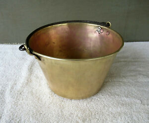 Antique Kettle Spun Brass Bucket Hw Hayden S Waterbury 1 Gal Pot Patent 1851