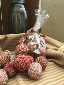 Handmade Red Country Primitive Prim Homespun Rag Balls Small Bowl Fillers Reds