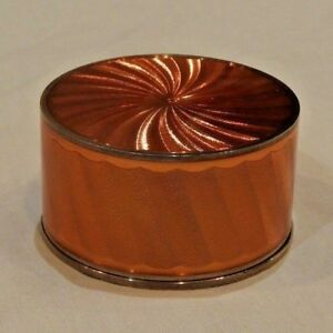Vintage Sun Orange Guilloche Enameled Sterling Silver Box