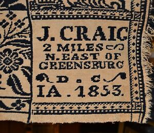 Antique James Craig 1853 Wool Coverlet Greensburg Indiana Museum Featured Weaver
