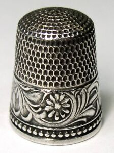 Antique Simons Brothers Sterling Silver Thimble Rosettes Design C1890s