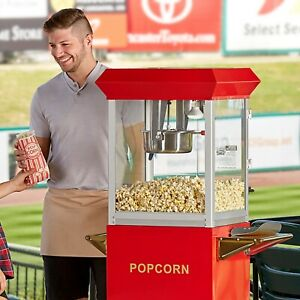 Stainless Steel Red 8 Oz Electric Popcorn Machine Popper 120v 850w