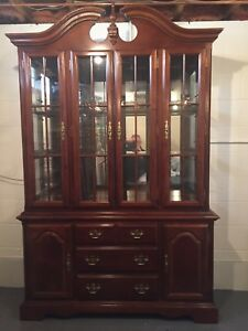 Beautiful All Cherry Wood China Cabinet And Hutch Perfect Condition