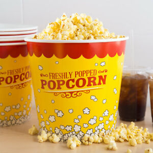 25 pack 170 Oz Round Paper Movie Theatre Concession Popcorn Buckets
