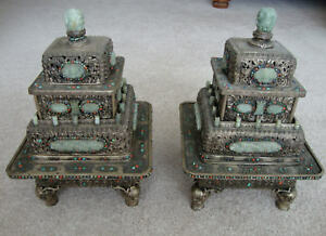 Vintage Chinese Tibetan Silver Bronze Incense Burner Censer Nephrite Jade Inlay