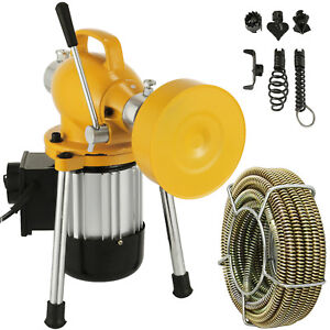 100ft 3 4 Drain Auger Pipe Cleaner Machine Snake Cleaner Mini Power 75 400w