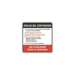 Spanish Dumpster Rules Sign Reflective 24 X 24