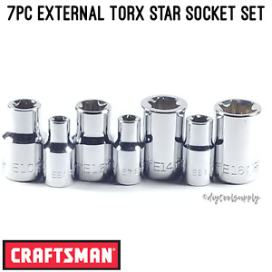 New Craftsman External E Torx Star Bit Socket Set 1 4 3 8 Drive Ratchets 7pc