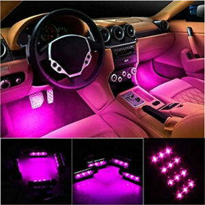 4x 3led Purple Car Auto Accessory Glow Interior Decor Atmosphere Neon Light Lamp