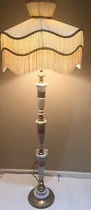 White Marble And Brass Floor Lamp With Fringed Shade Art Deco Style