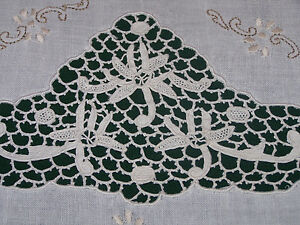 Elegant Vintage Linen Embroidered Tablecloth Italian Needle Lace Inserts 1930