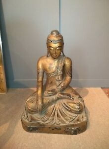 Large Antique Buddha Asian Thai Carved Wood Sculpture
